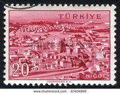 TURKEY - CIRCA 1959: A stamp printed by Turkey, shows Turkish city, Nigde, circa 1959. - stock photo