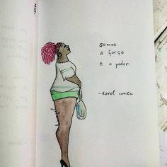 """113 curtidas, 2 comentários - Hiasmyn L. (@hiasmynl.ilustras) no Instagram: """"Somos o poder. 💪 {17/366}""""    #mulhernegra #karolconka #mulher #mulhergorda #feminismo #empoderamento #ilustração #aquarela #artistasnegros #woman #blackwoman #blackartist #woman #fatwoman #illustration #watercolor"""