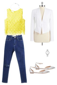 """""""Summer Yellow"""" by baileyjorgensen ❤ liked on Polyvore featuring Gianvito Rossi, Dondup, T Tahari, Orelia and Fendi"""