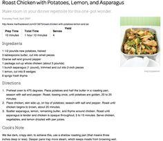 Roast Chicken with Potatoes, Lemon, and Asparagus http://www.marthastewart.com/315875/roast-chicken-with-potatoes-lemon-and-as