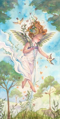 Angel Art Print Nature Child Flowers and Birds in por sarambutcher