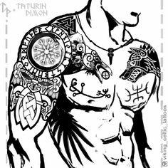 norse mythology Viking-Celtic Tattoos by Dimon TATURIN Tallinn . Viking Tribal Tattoos, Viking Tattoos For Men, Viking Tattoo Sleeve, Viking Tattoo Symbol, Norse Tattoo, Viking Tattoo Design, Tattoo Symbols, Armor Tattoo, Celtic Sleeve Tattoos