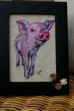 Original Pig Painting Small Framed Piglet by LittleLoBoutique