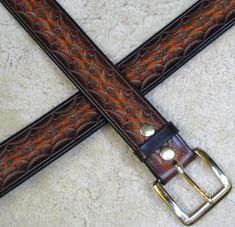 Hand-tooled Leather Belt - B21010 XXL in browns and mahogany - Free US Shipping