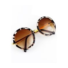 Yellow Round Lenses Leopard Sunglasses ($11) ❤ liked on Polyvore