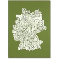 Trademark Art 'olive-Germany Regions Map' Canvas Art by Michael Tompsett, Size: 22 x 32, Multicolor