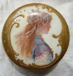OLD Rosenthal Portrait Powder Vanity Jar Nouveau Lady