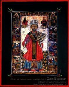 Sfântul Ierarh Nicolaie icoană împărătească naivă pictată pe dosul sticlei în ulei pictură tradițională lucrare de artă religioasă icoană ortodoxă pe sticlă icoană Sfântul Nicolaie icoană  pictată  pe sticlă cu Sfântul Nicolaie