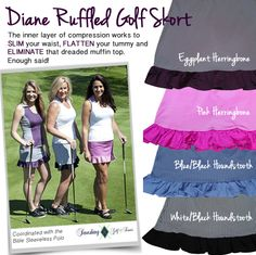 A #golf skort that slims and tones .. yes, PLEASE!     http://www.golf4her.com/Smashing-Diana-Ruffle-Golf-Skort-p/smg-diana.htm