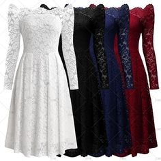 "This is a lovely vintage Inspired ladies cocktail/evening dress. The dress had a full Lace design, is an a-line, 3/4 sleeve, knee length dress. It has aback zipper and available on four Color Choices: Red Wine, Blue, White and Black. 👗    Made from 70% Polyamide and 30% Cotton, and has full lining.     ✨Also available on our website at www.UyleesBoutique.com in our ""Vintage Dresses"" section.    Available in US sizes 4 - 16.     This item ships within seven (7) days to US addresses. 📦 …"