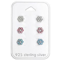 ICYROSE Earring 925 Sterling Silver Hypoallergenic (SET OF 3) Clear, Pink, Blue Flower Stud Earrings for Girls or Women 29116