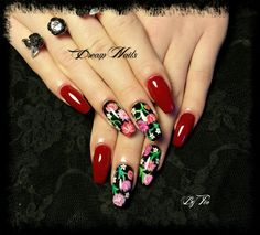 Coffin nails flower Black Red rose