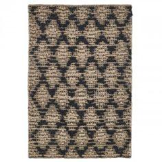 House Doctor Matta natur jute svart diamant mönster halksäker matta