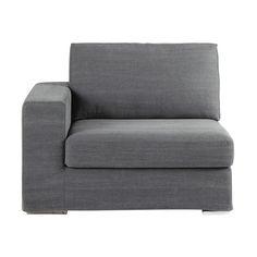 Accoudoir gauche de canapé en coton gris