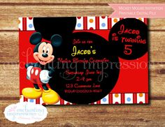Mickey Mouse Kids Birthday Invitation  by enchantingimpression  Let us help make your event enchanting!!