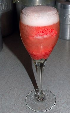 Strawberry Sorbet and Prosecco floats. Perfect for girl's night! Mmmmm!