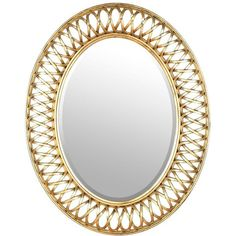 Gold Woven Oval Mirror, 24x30 (€40) ❤ liked on Polyvore featuring home, home decor, mirrors, framed mirrors, gold home decor, framed wall mirrors, framed beveled mirror and modern home decor
