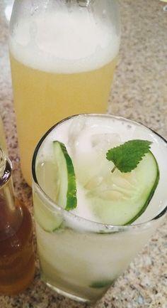 Cucumber + Lemon Balm + Lime Soda (Ginger Bug) - Insane in the Brine Citrus Juice, Lime Juice, Ginger Bug, Cucumber Vodka, Lime Soda, Lemon Balm, The Balm, Beverages