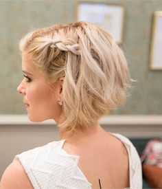 Bob Hairstyles 2018 - Short Hairstyles for Women 20 Updos for. - Bob Hairstyles 2018 - Short Hairstyles for Women 20 Updos for Bob Hairstyles Short Hair Wedding Updo, Braids For Short Hair, Girl Short Hair, Short Hair Cuts, Short Bob Updo, Bob With Braid, Long Hair, Bob Hair Updo, Bridesmaid Hair Short Bob