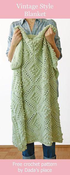 8536ca4a392 Vintage style blanket - free crochet pattern by Dada's place #freecrochet  #vintagecrochet #crochetblanket