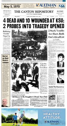 Kent State shootings headlined the Repository on May 5, 1970 edition #KentStateshootings