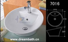 Product Name:Round Bathroom Basin Model No.: DB-7016 Dimension: 510X510X220mm  (1 inch = 25.4 mm)  Volume: 0.073CBM  Gross Weight: 10 KGS  (1 KG ≈ 2.2 LBS) Basin shape: Round