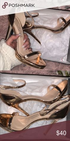Pretty Little Thing Rose Gold Heels BEAUTIFUL Rose Gold heels from Pretty Little Thing. Just bought, never worn! Still in the box. They were a little too big for me! Size 8 in UK, which is a 10 US. 4.5 inch heel. Pretty Little Thing Shoes Heels