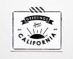 California Postcard, Greetings From California from The Paper Club.