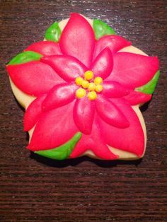 Cookie Countdown to Christmas 2013 #4 Poinsettia Sugar Cookie with Royal Icing