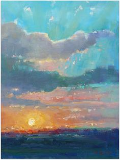 Sunset Port Alfred (oil painting) by Malcolm Dewey painting in Port Alfred, South Africa