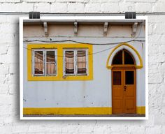 Door Photography Rustic White Yellow Portugal by WithLoveFromHere