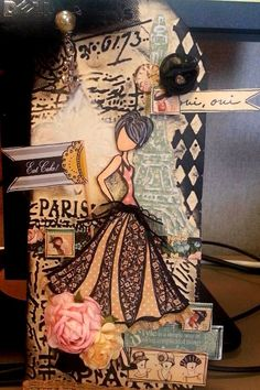 Prima mixed media Julie Nutting doll tag made by Michelle Thomas @ Terri Mihlbauer