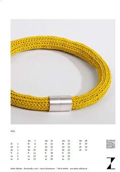 Schmukkalender 2014-Juli  Thema: Leder Leder verstrickt, Magnetverschluss Silber www.atelier-zellhuber.de #Leder #Silber #gelb #Strickschmuck #gestrickt #gestrickter Schmuck