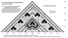Printing Page For Chart of Triangle Shawl Connected Hearts Charted Design - Free Crochet Pattern