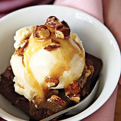 Moms will love the convenience that brownie mix and caramel topping give to this semi-homemade dessert. These sundaes are best when the brownies are still slightly warm. We suggest serving in bowls to catch every bite and prevent runny messes.
