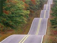 A series of hills on Highway 7 south of Harrison, Arkansas, in the Ozark Mountains.