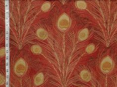 Peacock feather fabric Victorian red upholstery from Brick House Fabric: Novelty Fabric