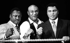 Ali and frazier | Muhammad Ali with Joe Frazier and George Foreman at the London Arena ...