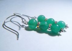 Natural Jade Earrings with Sterling Silver by RosysJewelsandYarns, $15.00