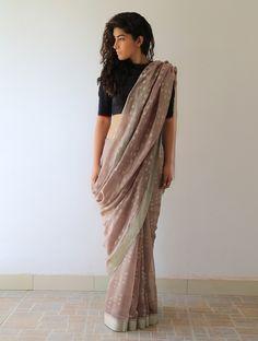 Earthy Gold Silver Lata Chanderi & Zari #Saree By Raw Mango. Available Online At Jaypore.com.