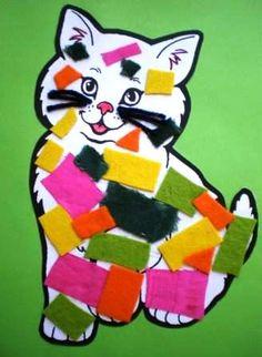 Wat een leuk knutselidee, bijvoorbeeld voor dierendag. Een lapjeskat beplakken met stukjes stof of vilt. Op deze site vind je de afbeelding van de lege kat om te printen en instructies.