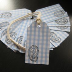 """FREE SHIPPING Baby Blue Gingham Gift Tags - hand stamped w/black paisley - 24 pc. 2"""" with twine $5.00"""