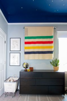 Check out this Outdoors Inspired Boys Room with a constellation ceiling. Lego Bedroom, Kids Bedroom, Hudson Bay Blanket, Blanket On Wall, Baby Room Neutral, Rainbow Room, Shared Rooms, Room Interior, Room Decor