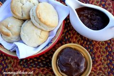 Mommy's Kitchen - Old Fashioned & Southern Style Cooking: Southern Style Chocolate Gravy Bowls & Cream Biscuits #SaveTheBiscuit