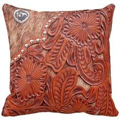 Cut leather pillow - Via Montana Stockgrowers Association - #WesternHome