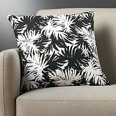 """18"""" the hill-side palm leaves black and white pillow"""