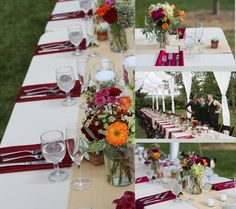 Wedding Ideas for long tables at a wedding reception. This backyard wedding was styled by Moore & company in BelAir, Maryland. The wildflower arrangements were varied and the mix of burlap and fine linens gave a elegant twist to the backyard outdoor wedding. The couple had an open air tent ceiling so the guests could dine under the stars. Details of your wedding are important to capture. Wedding reception was accented with colors of burgundy, orange and a mix of local wild flowers…