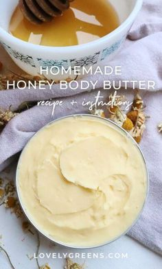2 reviews · 30 minutes · Vegetarian Gluten free · Serves 1 · A thick and nourishing honey body butter for radiant skin. Use as needed on the body, but this may be too heavy to use on your face. Its mixture of rich oil and nut butter helps condition your skin… More Butter Recipe, Nut Butter, Cocoa Butter, Chamomile Essential Oil, Essential Oils, Homemade Body Butter, Homemade Soaps, Salve Recipes, Honey Benefits