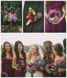 purple wedding ideas....but with navy dresses