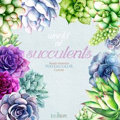 Watercolor Succulents Clipart. Hand painted wedding by ReachDreams